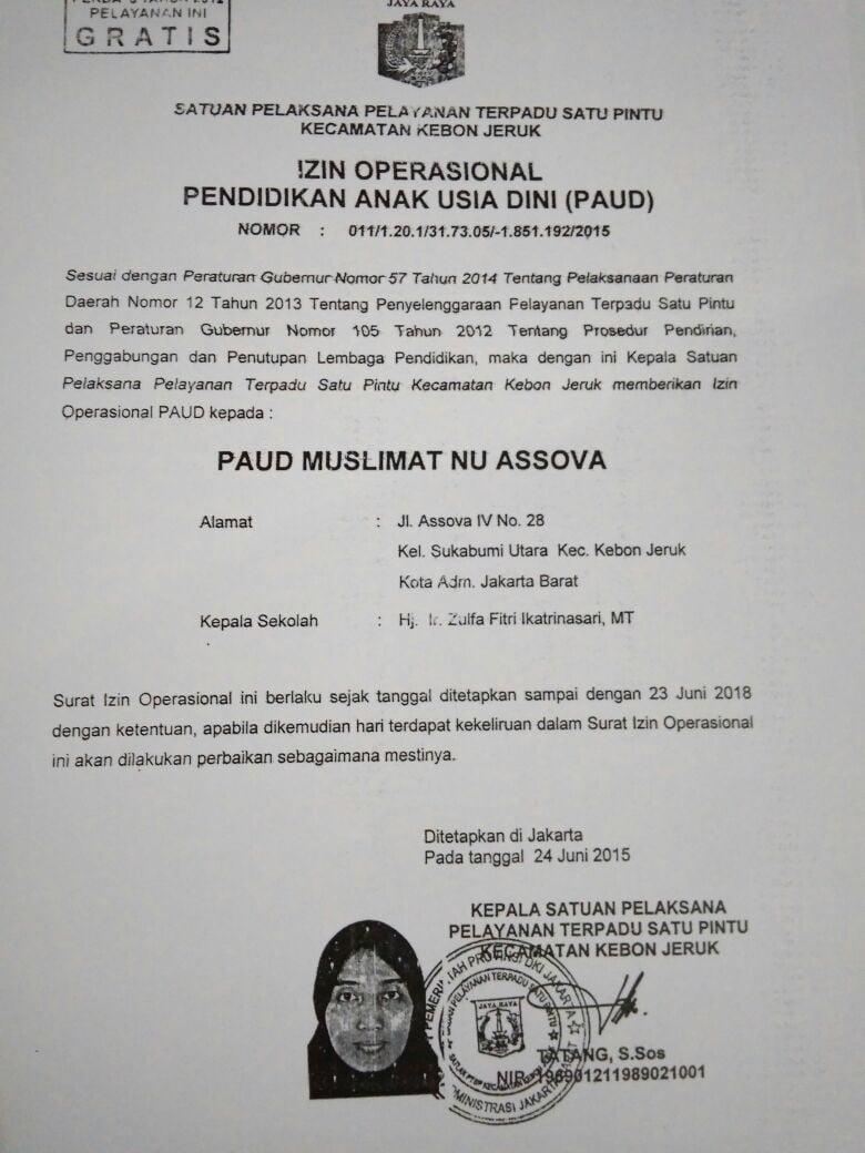 izin operasional paud assova
